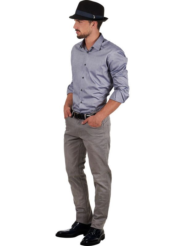 Men's shirt with small Italian collar and cotton fabric Delsiena
