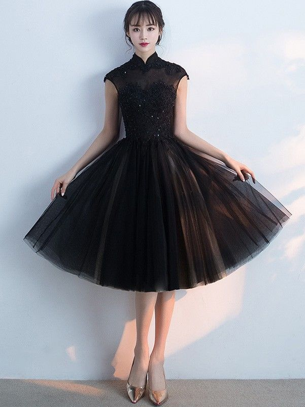 8bbcdc2f4 Black Midi Qipao / Cheongsam Evening Dress with Tulle Skirt | Qipao ...