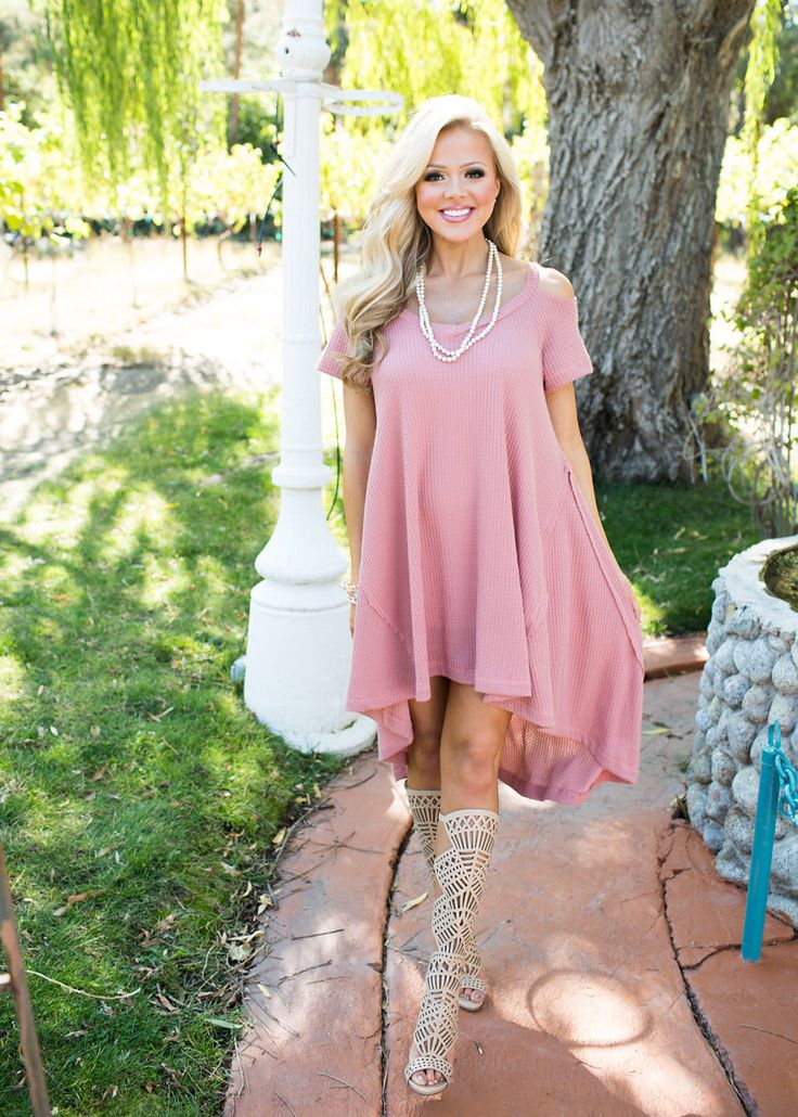 Dress, Pink Dress, Cap Sleeve Dress, High Low Dress, Open Shoulder Dress, Cute, fashion, Online Boutique