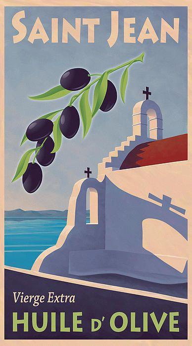 Vintage Greek Olive Oil Label