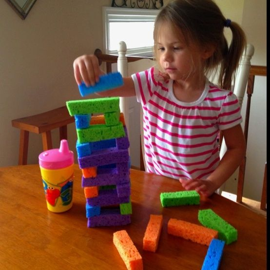 Sponge tower- quiet indoor game or wet outside game