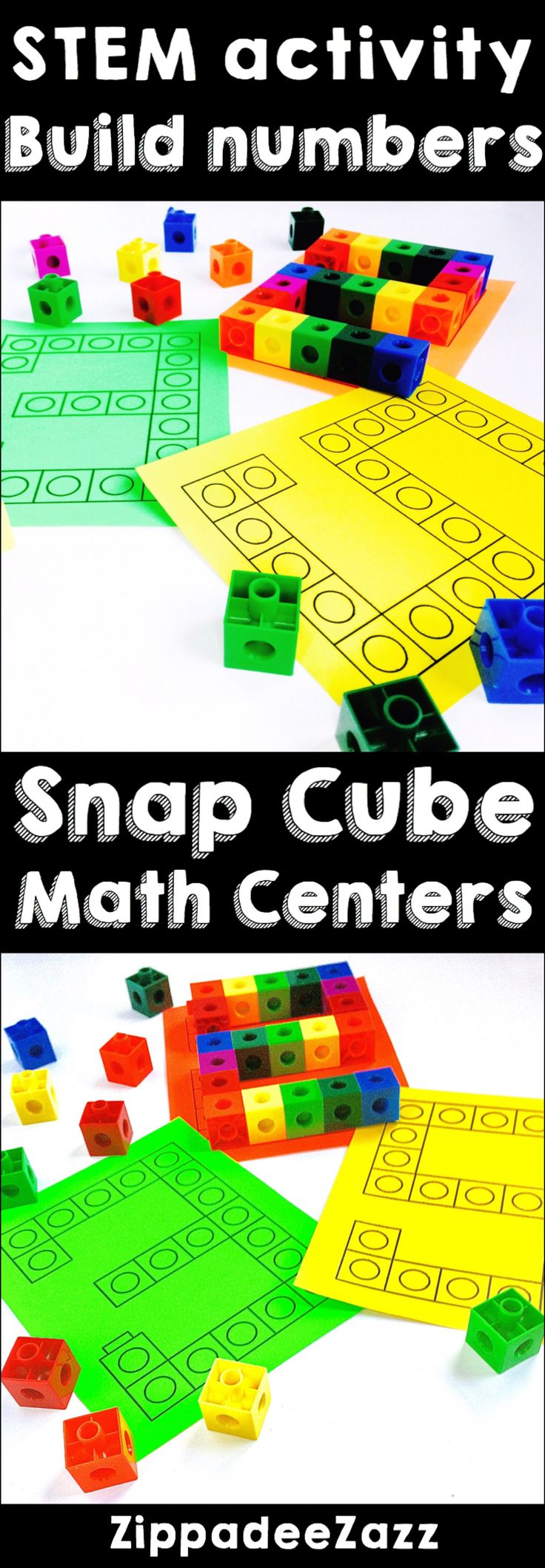 Use these snap cube math centers as a STEM activity. You can learn how to form numbers up to 5, practice building skills, number recognition, and addition by counting the amount of snap cubes per number built.