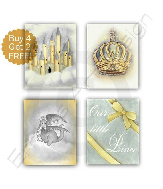 Baby Boy Nursery Crown Art Castle Print Dragon Art SET 4