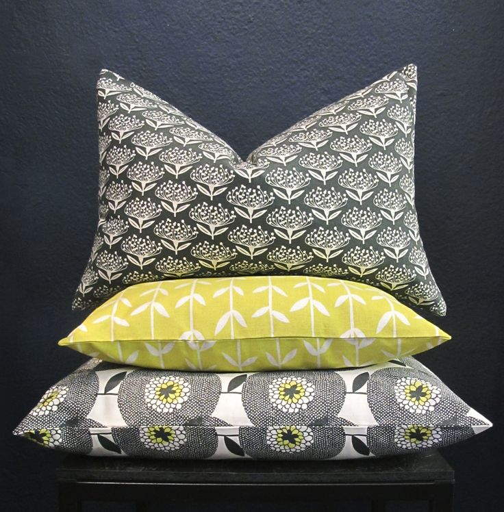 Floral pillow covers in blacks and lemons. Visit the Skinny laMinx online shop to see our full collection.