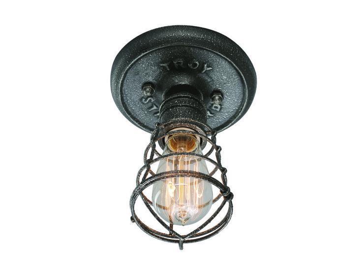 Troy Lighting Conduit Old Silver Iron Flush Mount Light | C3810