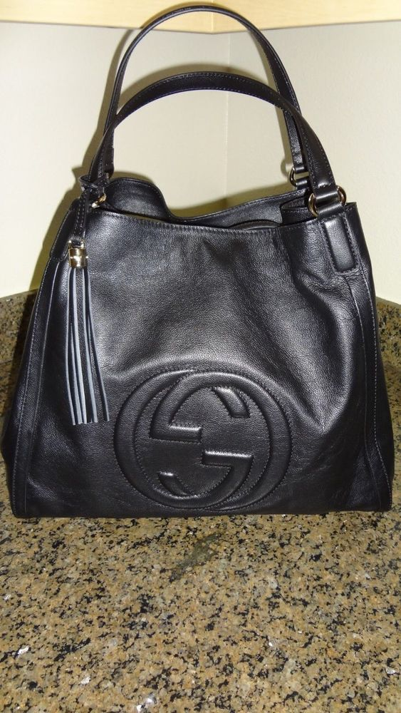 ecf94d00a90 AUTHENTIC Gucci Soho Black Large Tote pebbled letter Pre loved bag ...