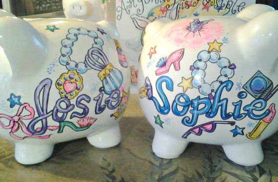 Every Personalized Piggy Bank in my shop is Handpainted and includes free personalization. Sorry to disappoint you but i can no longer guarantee delivery for Holiday orders. !! Piggy Bank for Kids Personalized Dress Up Design Hand Painted  Perfect for your girly girl..now she can save for a new pair of shoes!  All of my personalized piggy banks are handpainted on BOTH sides and include free personalization. This listing is for ONE bank.  These wonderful hand painted ceramic piggy banks come…