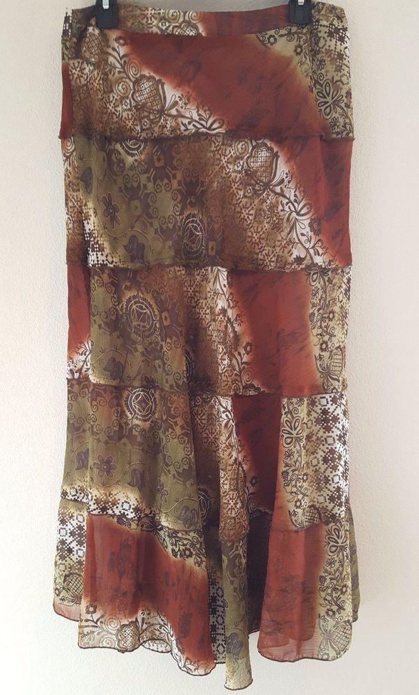 Scott Taylor Women's Flare Multi-Color Long Four Tier Skirt Fully Lined Size 10 #ScottTaylor #FlareFull