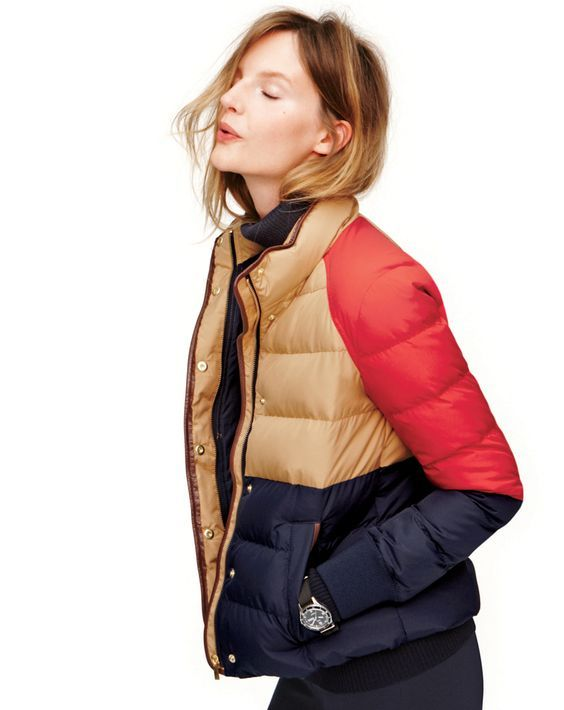 I love this color block puffer J.Crew Alpine in colorblock puffer: