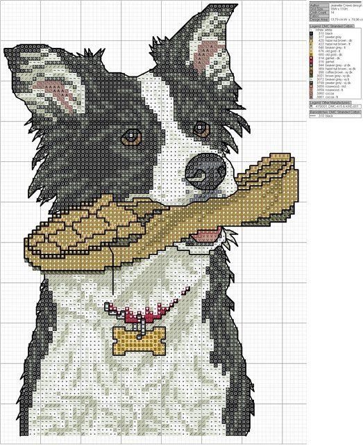 Adorable border collie cross stitch pattern. #dogs #cross_stitch #patterns