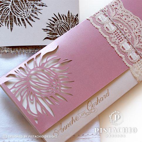 Pink protea wedding invitations by www.pistachiodesigns.co.za