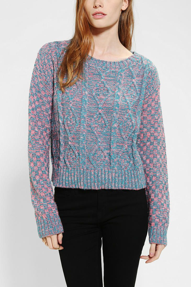 Glamorous Cropped Cable-Knit Sweater