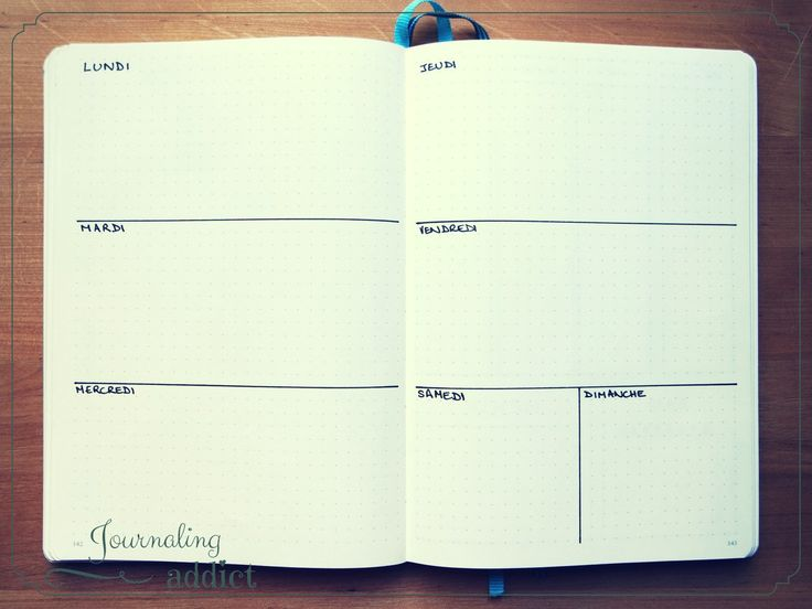 bullet journal bujo layout display semaine pages hebdomadaires