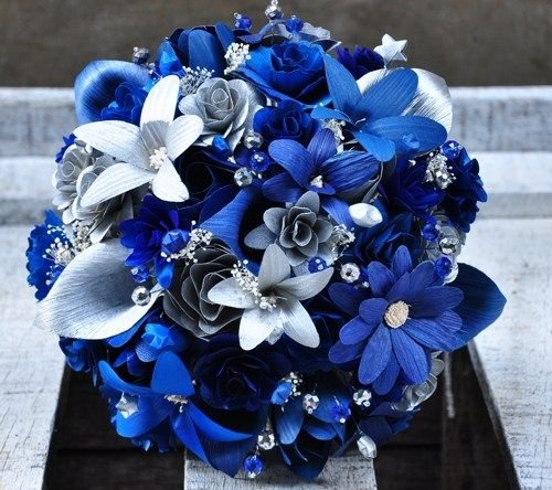 Silver Blue Starry Starry Night Wedding Bouquet | AccentsandPetals - Wedding on ArtFire