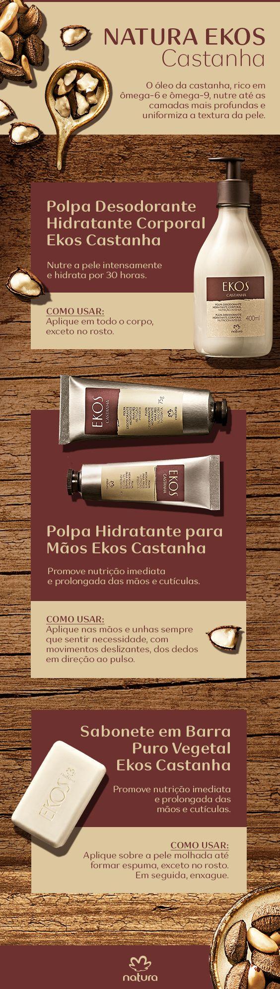 A linha de castanha é feita com o óleo de castanha, rico em ômegas 6 e 9, que nutre até as camadas mais profundas e uniformiza a textura da pele.