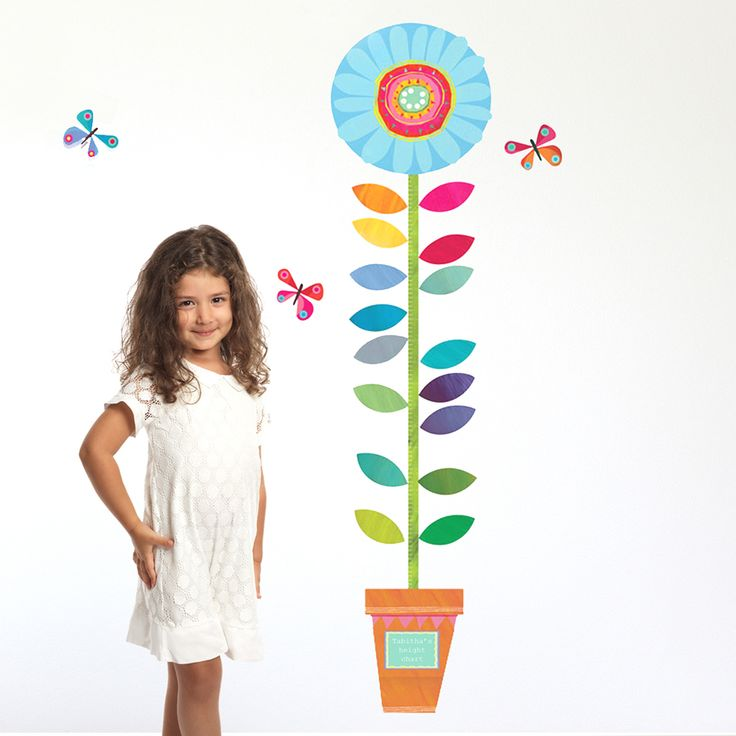 A bright and colourful Personalised Flower Height Chart that is perfect for any little girl's bedroom wall.  This fun flower height chart wall sticker would be sure to take pride of place in any nursery, bedroom or playroom. It is just as practical as it is gorgeous, being easy to apply and cleanly removable. You can even write on the height chart with any normal permanent pen, perfect for recording your children's height over time!