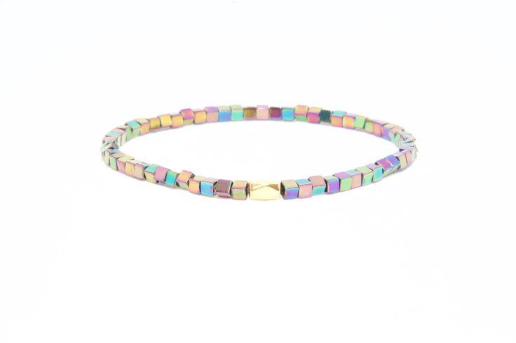 18K Solid Yellow Gold Beaded Bracelet Colourful Hematite Beads - Men's & Women's Stylish & Unique Bracelets