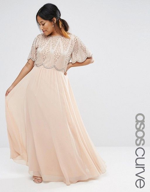 ASOS Curve | ASOS CURVE Embellished Bodice Maxi with Scallop Sleeve
