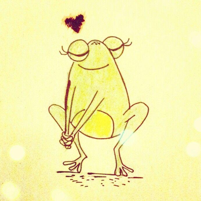 Frog in love illustration