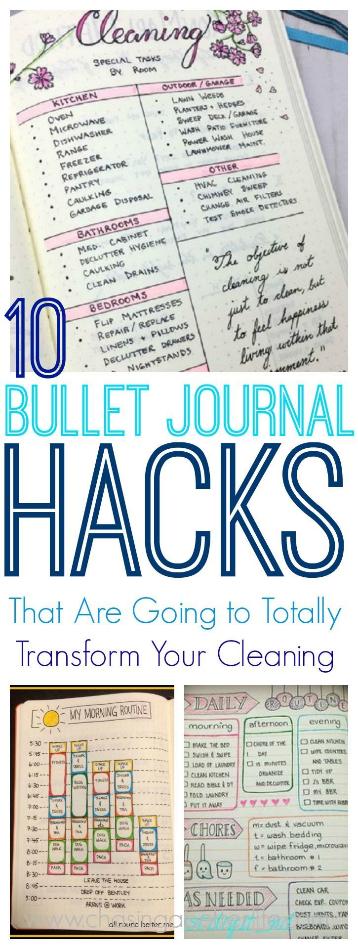 These 10 bullet journal hacks are THE BEST! I'm so glad I found these great bullet journal tips and hacks that actually work! Now I can be more productive in my cleaning when using my bullet journal! Definitely saving for later! #bulletjournal #journal #bulletjournaling
