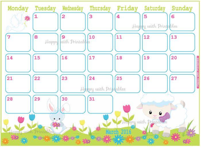 Calendar Easter : Calendar march printable spring planner easter