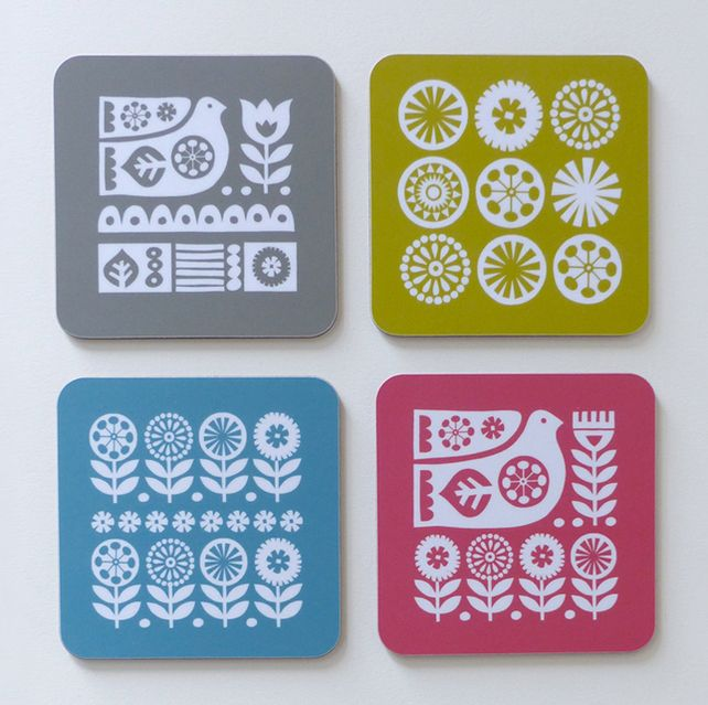 Set of Coasters Scandinavian Design Swedish Bird Flowers Retro 70s 60s £14.25