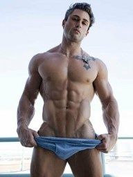 Look At These Abs! Chiseled Muscular Model Pulls Down Underwear
