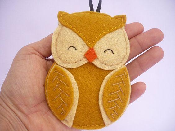 Owl - decoration - mustard yellow ornament - bird ornament - wall hanging $12: