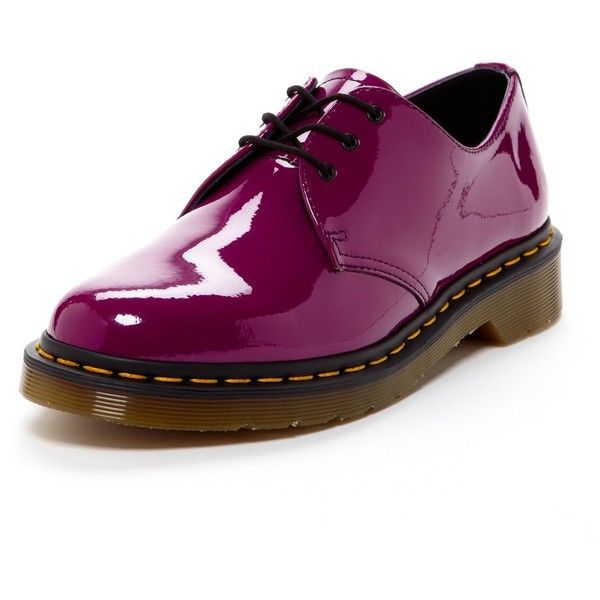 Dr. Martens 1461 Patent Leather Oxford ($75) ❤ liked on Polyvore featuring shoes, oxfords, purple, polish shoes, dr martens shoes, patent leather oxfords, slip resistant shoes and platform shoes