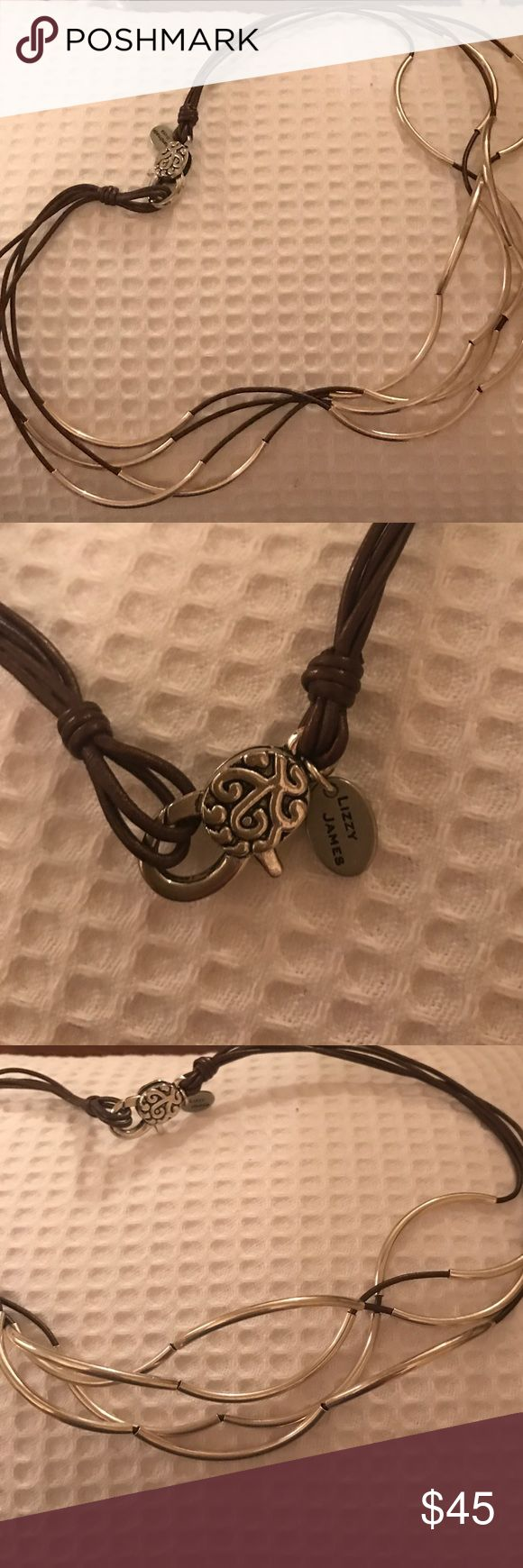"""Lizzy James Necklace / bracelet About 10"""" long when clasp is connected to base of necklace.  Can be looped around wrist to wear as bracelet as well. Cording is brown. Piece is flawless. Worn less than 5 times. lizzy james Jewelry Necklaces"""