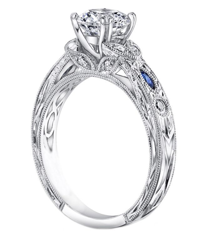 Vintage Design Engagement Ring With Round Diamonds And