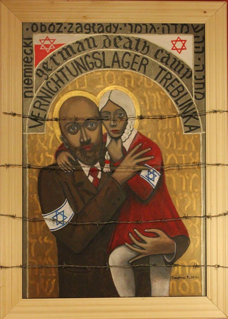Chrapowicz Sylwester, Treblinka german death camp, 2017, olej, akryl, płótno, drewniana rama, drut kolczasty,100x140 cm.