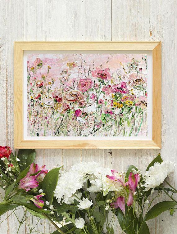 Arte color de rosa púrpura rojo brillante flores pintura al