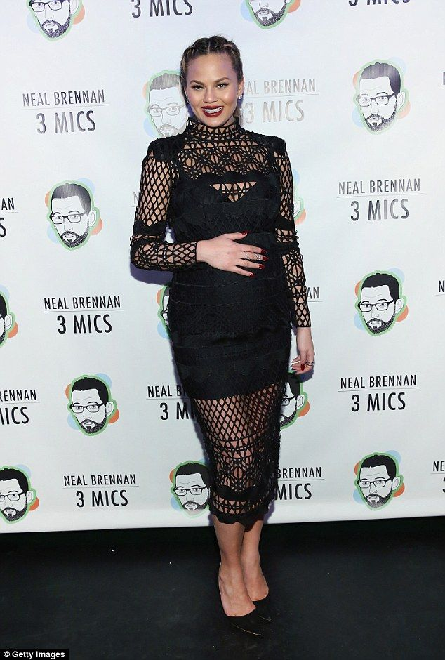 Bump's night out! Chrissy Teigen looked gorgeous as she showed off her gorgeous growing bump in a lace dress as she attendedthe Neal Brennan 3 Mics Opening Night in New York on Thursday