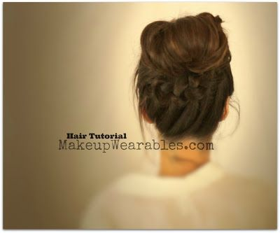 Romantic, messy bun hair tutorial video for medium long hair   School hairdos hairstyles updos, wedding, prom, bridal