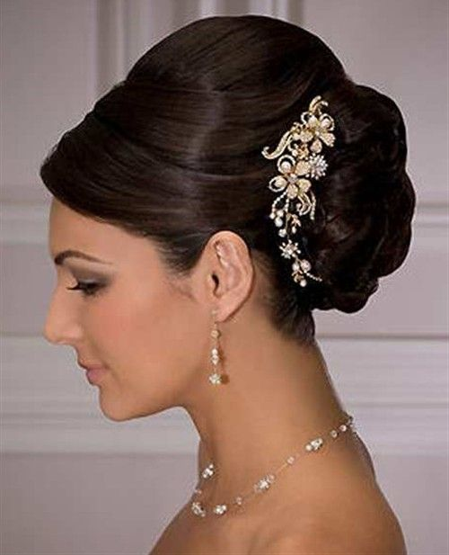 Indian_bridal-hairstyles-beautiful-look. Care however should be taken before adopting such hairstyles, as due to it's high static charge, it will cause phlegm to move up in the throat, causing the voice to quaver & a frequent urge to clear the throat. A heavy chabi chhalla with a long & wide hook if inserted at the edge of the pleats of the saree, will reduce this problem as it's hook will activate the acupressure points that act to keep the throat clear.