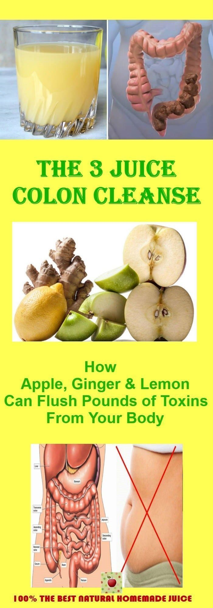 The 3 Juice Colon Cleanse How Apple Ginger and Lemon Can Flush Pounds of Toxins From Your Body #cleansecolon