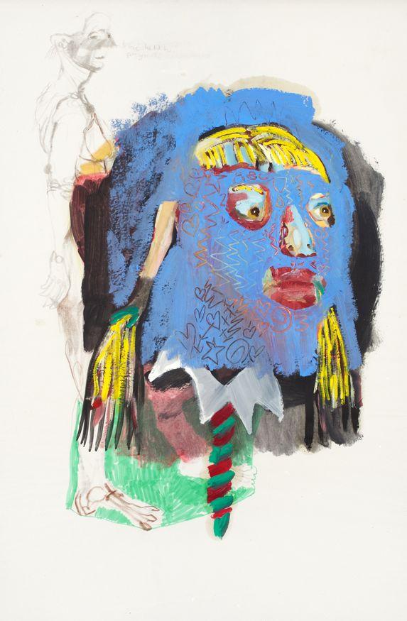 Marlene Steyn, 'Becoming a buttress' (2013), Oil and mixed media on newsprint, double- sided, 79.5 x 53.5 cm (unframed), 83.5 x 57.5cm (framed)