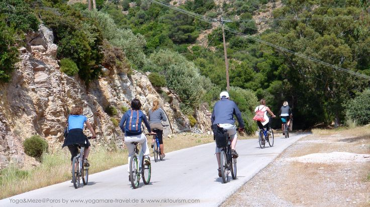 End of April ideal for mountain biking at Poros Islands. Can you smell the pine trees?