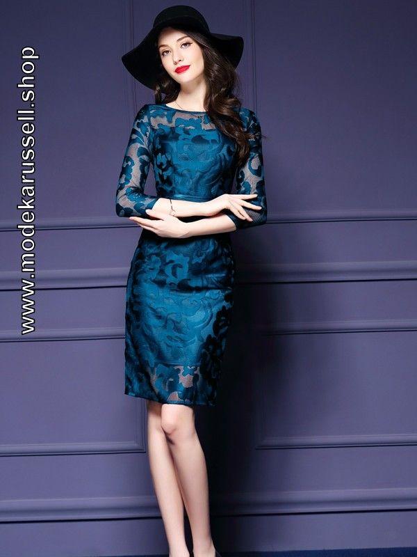 Elegantes Sommerkleid Cocktailkleid mit Blumen Spitze in Blau