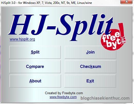 Download HJSplit, phần mềm cắt, nối file & check mã MD5
