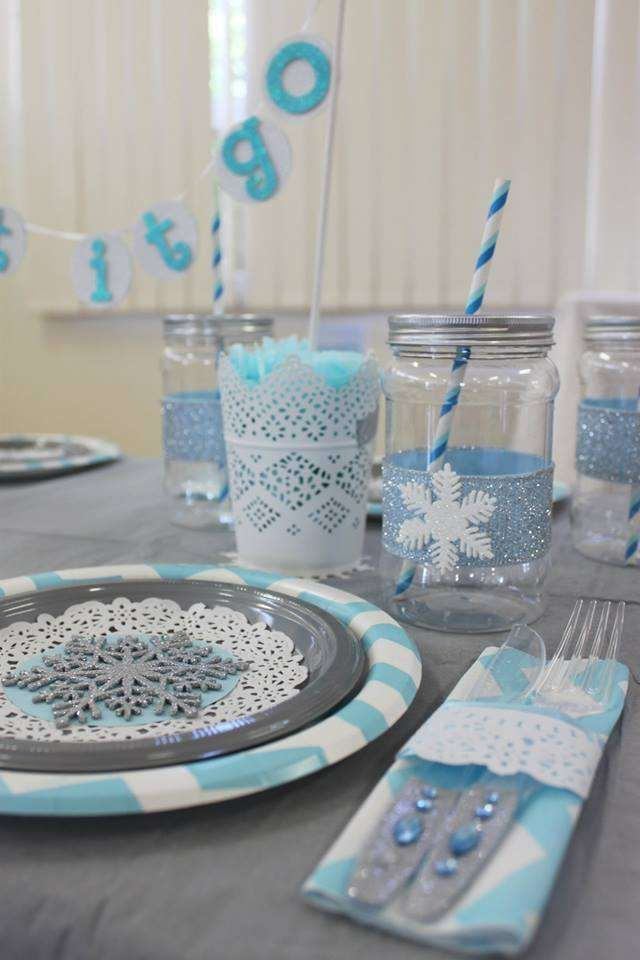 Gorgeous table at a Frozen birthday party! See more party planning ideas at CatchMyParty.com!