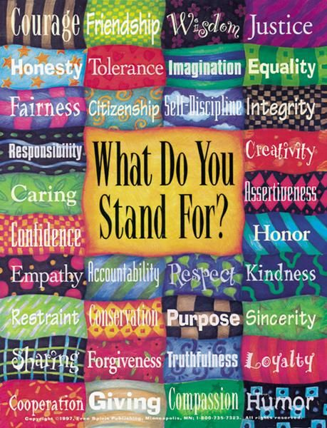 What Do You Stand For?  Possible bulletin board design to which all students could contribute their defining word.