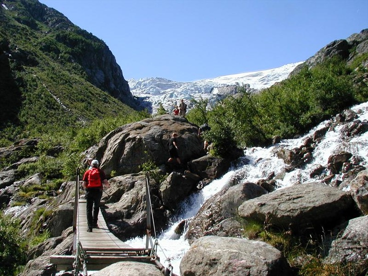 Hiking towards Buer glacier in Odda, Norway. Buer glacier is a part of Folgefonna glacier and Folgefonna National Park.