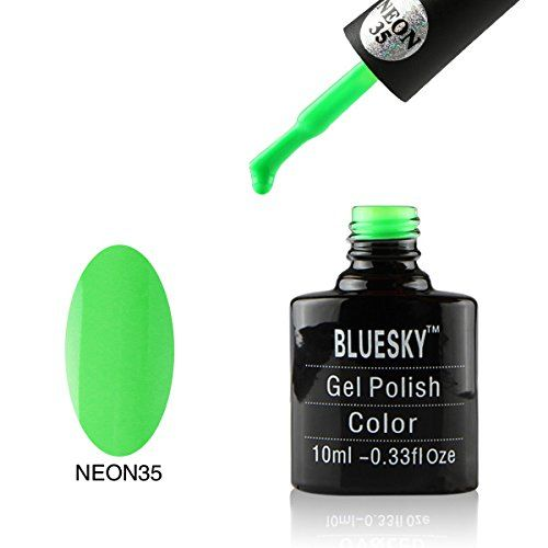 Bluesky Neon-Smalto Gel, Go, colore: verde, numero: 35, 10 ml, colore: verde fosforescente