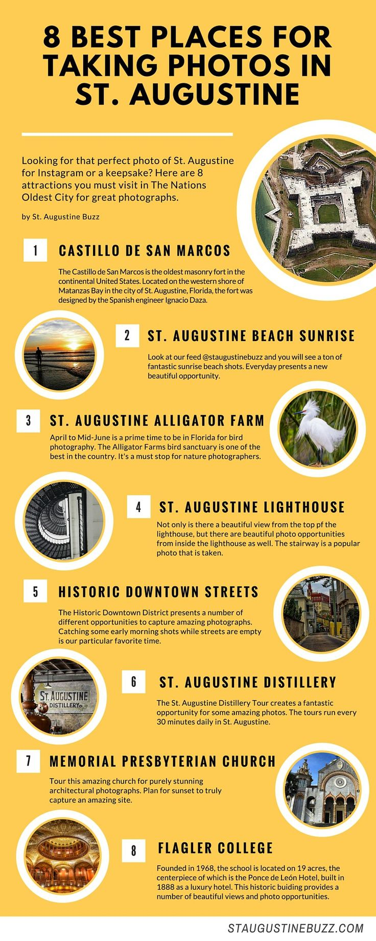 Looking for that perfect photo of St. Augustine for Instagram or a keepsake? This infographic shows the '8 best places for taking photos in St. Augustine'. Add these to your itinerary a…
