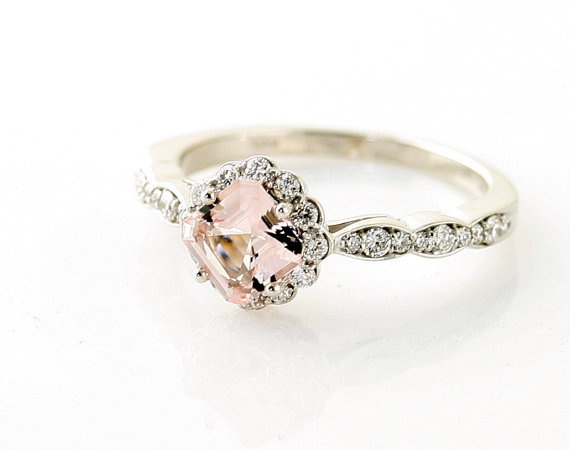 14K Asscher Morganite Diamond Engagement Ring Custom by RareEarth