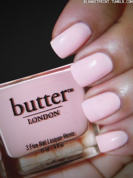 Pretty Pink Pastels Nails ~ This Is such a pretty color ~ TEDDY GIRL (Butter London) Every time I think I get one I have to put like 5 coats just to see it