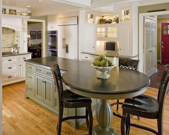 Island with attached table design kitchen inspiration for Kitchen island with round seating area