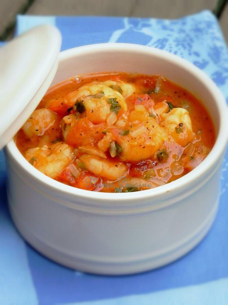 Fricassée de crevettes. (http://www.uneplumedanslacuisine.com/2011/05/fricassee-de-crevettes-a-lantillaise/)